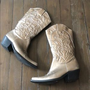 Penny Loves Kenny Gold Metallic Western Boots 7.5